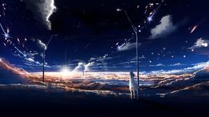 Sky Game Stars Anime Clouds Sunrise 2560x1440 Wallpaper