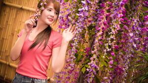 Asian Model Women Long Hair Brunette Red Shirt Jeans Shorts Flowers 1920x1281 Wallpaper