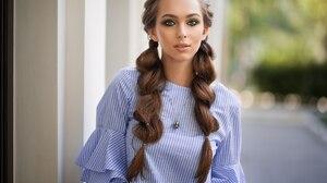 Long Hair Depth Of Field Brunette Braid Green Eyes 2048x1365 Wallpaper