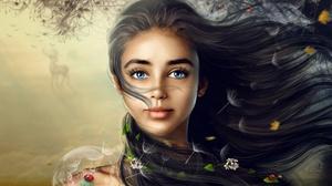 MiniDem Women Fantasy Girl Brunette Blue Eyes Animals Ladybugs Deer Bare Shoulders Tattoo Fantasy Ar 1920x1483 Wallpaper