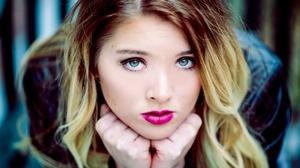 Blonde Blue Eyes Girl Lipstick Model Woman 4000x2574 Wallpaper
