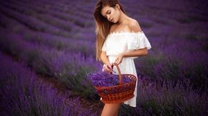 Basket Dress Flower Girl Lavender Model 2560x1709 wallpaper