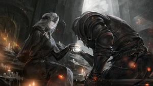 Armor Candle Dark Souls Iii Girl Knight Sword Warrior White Hair 2481x1754 Wallpaper
