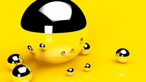 3d Ball Cgi Digital Art Reflection Sphere Yellow 2560x1600 wallpaper