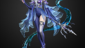 Lucas Liao CGi Women Silver Hair Dress Blue Clothing Water Trident Weapon Fantasy Art Simple Backgro 1920x1920 Wallpaper
