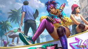 Smite Watermarked Pele Smite Skateboard Spray Can Graffiti Choker Skirt Mythology Caravan Studio 3840x2160 Wallpaper