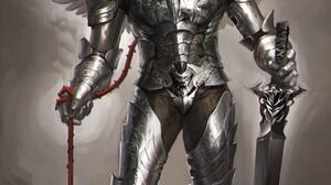 Sakimichan Realistic Warrior Armored Wings Sword Fantasy Art Artwork 1600x2646 Wallpaper