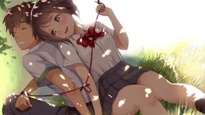 Kimi No Na Wa Tachibana Taki Miyamizu Mitsuha Anime Couple School Uniform Anime 1920x1398 wallpaper