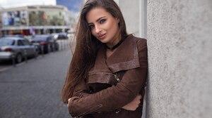 Woman Model Blue Eyes Brunette Long Hair Coat 2048x1365 Wallpaper