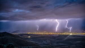 Landscape Night Rocks Nature Storm Clouds Sky Mountains Lightning 6016x4016 Wallpaper