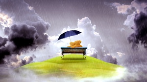 Teddy Bear Bench Umbrella Rain 5120x2880 Wallpaper
