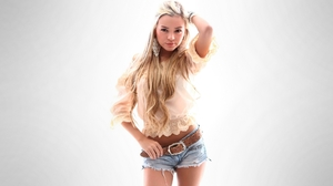 Women Model Blonde Long Hair Looking At Viewer Belt Valentina Gallego Shorts Hands On Head White Bac 1920x1080 Wallpaper