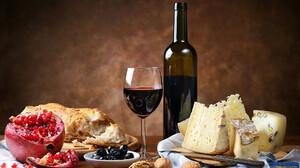 Still Life Food Wine Cheese Bottles Bread Knife Olives 1920x1080 Wallpaper