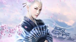 Blossom Fan Geisha Legend Of The Five Rings White Hair Woman 1920x1200 Wallpaper