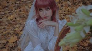 Karina Salakhutdinova Women Pink Hair Bangs Dress Wedding Dress White Clothing Nature Depth Of Field 2320x1304 Wallpaper