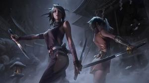 XiaoGuang Sun Drawing Women Video Game Art Wind Assassins Weapon Dagger Wakizashi Katana Night Low A 1920x1103 Wallpaper