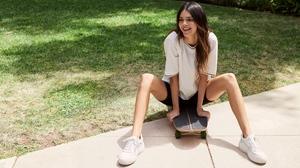 Kendall Jenner Women Model Women Outdoors Long Hair Brunette Sunlight Legs Sneakers Skateboard Smili 3660x2440 Wallpaper