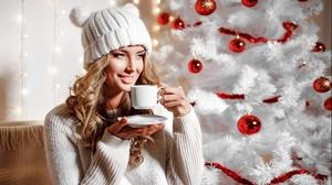 Bauble Blonde Christmas Girl Hat Model Smile Woman 5092x3395 Wallpaper