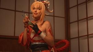 Women Model Cosplay Indoors Women Indoors Short Hair Blonde Red Clothing Yoimiya Genshin Impact Vide 2250x1500 Wallpaper