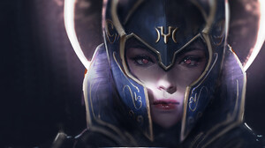 Artwork Fantasy Art Fantasy Girl Women Helmet Armor Red Eyes Trungbui 1828x1115 Wallpaper