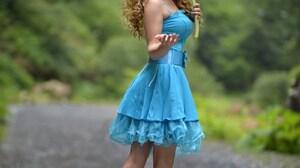 Vladimir Kulakov Women Leaves Blonde Long Hair Curly Hair Sunglasses Looking At Viewer Dress Blue Cl 1601x2400 Wallpaper