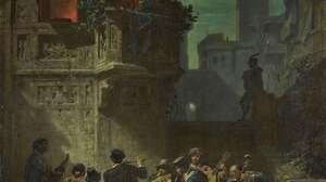 Artwork Painting Dark Night Medieval Bard Musician Flute Cello Violin Oboe Balcony 3868x4950 Wallpaper