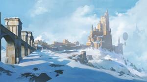 Artwork Digital Art Castle Snow 2000x921 Wallpaper