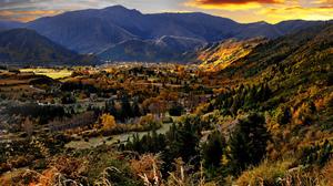 Fall Mountain Sunshine Town 2048x1362 Wallpaper