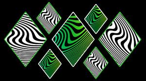 Black Curves Digital Art Green Shapes White 1920x1080 Wallpaper