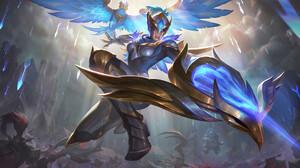Drawing League Of Legends Women Quinn League Of Legends Armor Birds Arrows Magic Blue Eyes Fantasy A 3000x1688 Wallpaper