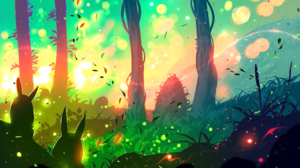 Bunny Forest Sunset Sunshine 2155x1280 wallpaper