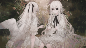 Black Eyes Flower Long Hair Twintails White Hair Wings Bow Clothing 3541x2468 Wallpaper
