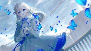 Anime Anime Girls Oyuyu Silver Hair Blue Eyes Dress Butterfly 2048x1152 Wallpaper
