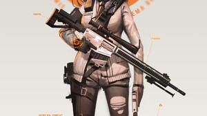 Anime Anime Girls Tom Clancys The Division Twintails Long Hair Brunette Red Eyes Weapon Sniper Rifle 2480x4252 Wallpaper
