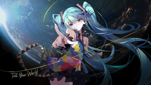 Anime Anime Girls Songruan Hatsune Miku Vocaloid Purple Eyes Blue Hair Twintails Long Hair Space Pla 3680x2088 Wallpaper