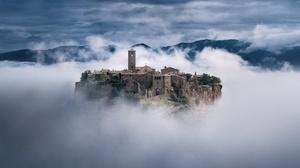 Civita Di Bagnoregio Cloud Fortress Italy 2500x1623 Wallpaper