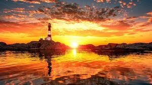 Lighthouse Reflection Sunset 1920x1080 wallpaper