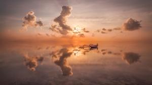 Boat Cloud Reflection Sea 2800x1867 wallpaper