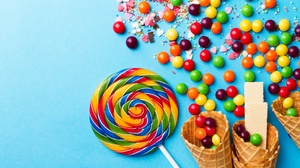 Candy Lollipop Sweets Waffle Cone 3184x2122 Wallpaper