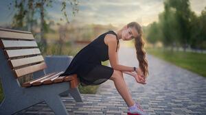 Dmitry Shulgin Women Brunette Long Hair Wavy Hair Looking At Viewer Dress Black Clothing Sneakers Be 2048x1365 Wallpaper