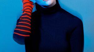 Anya Taylor Joy Women Actress Brunette Studio Simple Background Blue Background Long Hair 1875x2500 Wallpaper