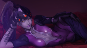 Amelie Lacroix Long Hair Lying Down Overwatch Ponytail Purple Hair Tattoo Widowmaker Overwatch Yello 3098x1784 Wallpaper