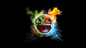 Memes Happy Face Elements Awesome Face Smiley Black Background 1920x1200 Wallpaper