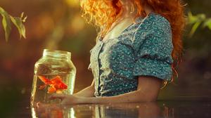 Evgeny Loza Women Swamp Nature Water Redhead Long Hair Curly Hair Reflection Jar Fish 1333x2000 Wallpaper