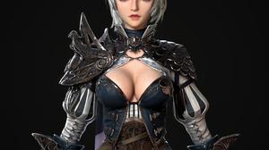 Cifangyi CGi Silver Hair Women Blue Eyes Scales Armor Blue Clothing Simple Background Black Backgrou 3840x3840 Wallpaper