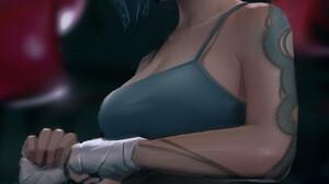 Trungbui Drawing Women Looking Away Bandage Tattoo Gyms Punching Bag Sportswear 1667x2534 Wallpaper