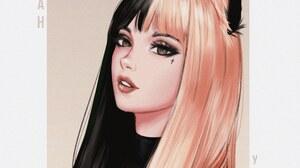 Yajuu Women Black Hair Dark Hair Redhead Cat Ears Brown Eyes Pierced Lip Pierced Lips T Shirt Black  2131x2100 Wallpaper