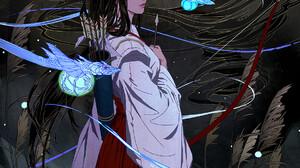 ArtStation Fantasy Art Women Fantasy Girl Artwork Bow Dark Hair Standing Inuyasha Kikyo 1169x1900 Wallpaper