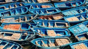 Morocco Boat Fishing Boat Blue Old Sea Shore Town Fleet Harbor Transport 4500x3000 Wallpaper
