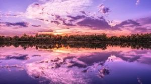 Nature Sunset Lake Reflection Clouds 4000x2250 Wallpaper